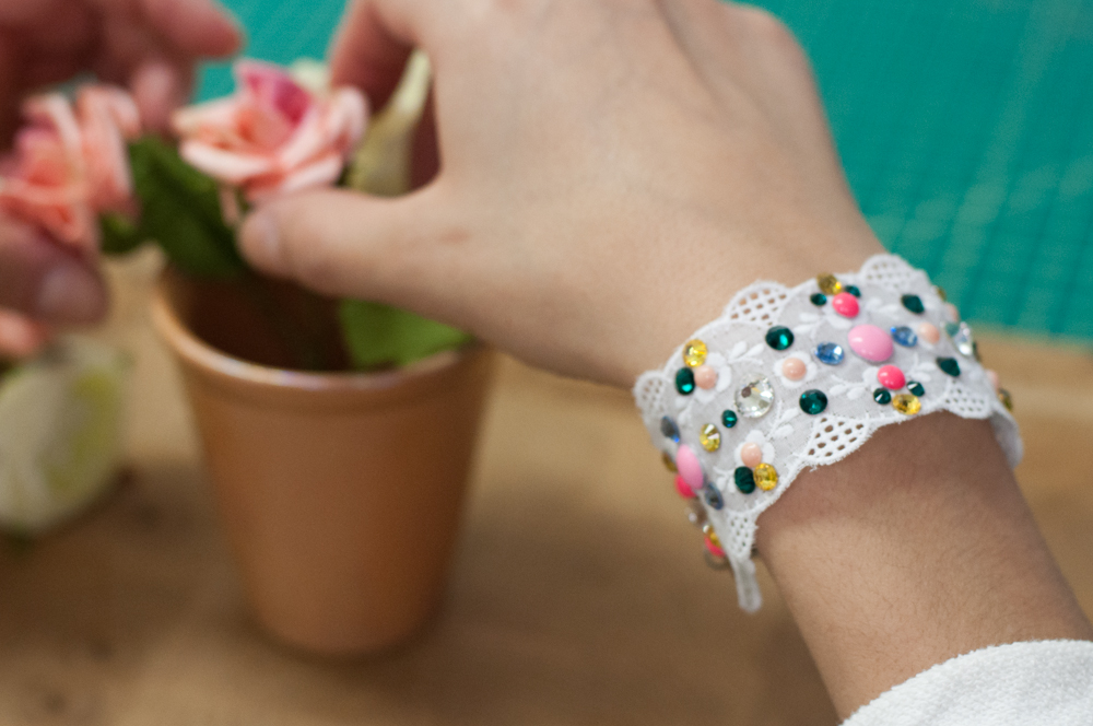 Finished Embellished Lace Bracelet