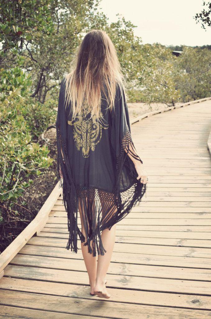 Crochet Fringed Black Kimono