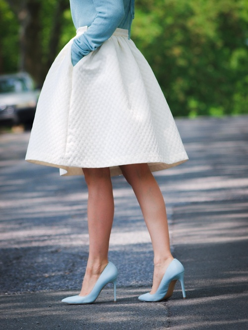 White Circle Skirt with Blue Details