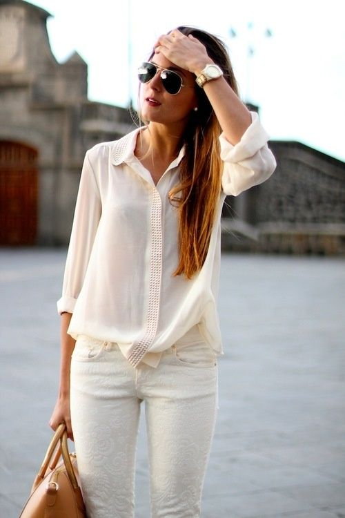 White Blouse and Jeans