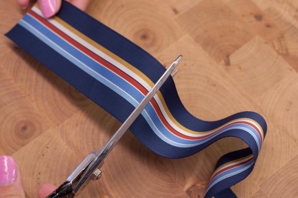 Cutting Striped Grosgrain Ribbon