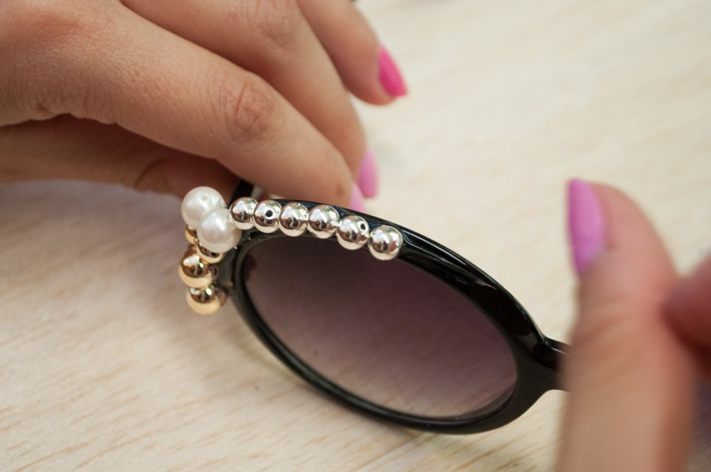 Adding Glue to Top of Sunglasses