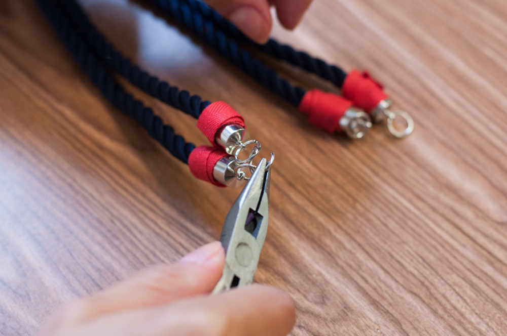 Adding Jump Rings to Nautical Knot Necklace