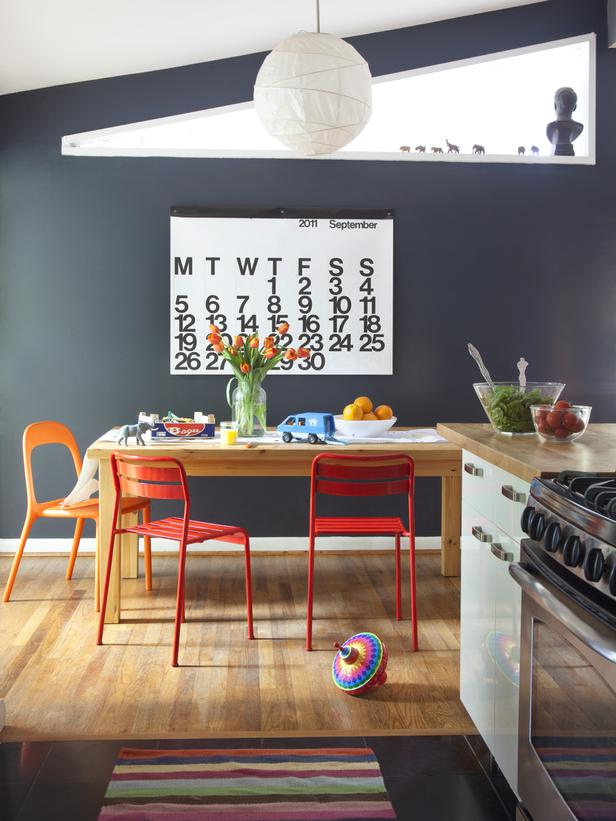 High Contrast Kitchen with Red Chairs
