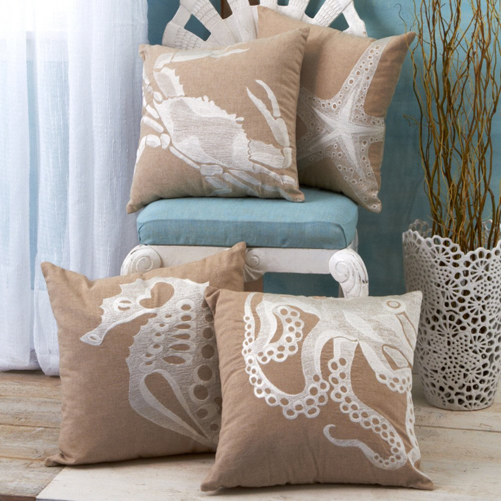 M&J Trimming: Sea Life Embroidered Pillows