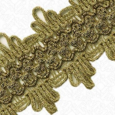 48MM IMPORTED FINE METALLIC BRAID - ANITQUE GOLD