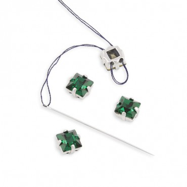 6MM X 6MM SWAROVSKI CRYSTAL SQUARE  W/SETTING