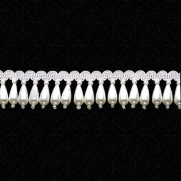 "1 1/4"" (32mm) Pearl Fringe With Scroll"