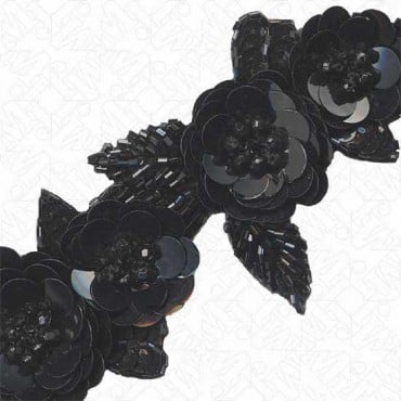 "2.5"" FLORAL SEQUIN / BEADED TRIM - BLACK"