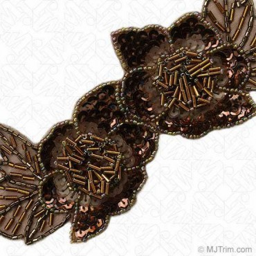 "2 1/2"" (64mm) Beaded / Sequin Floral Trim"