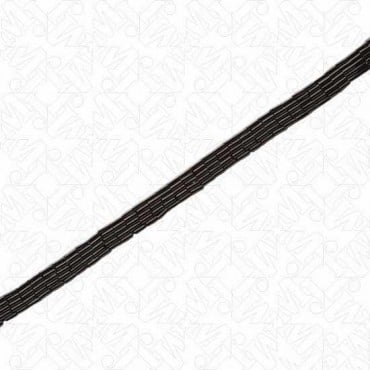 "3/8"" BUGLE BEAD TRIM - 5 ROW - BLACK"
