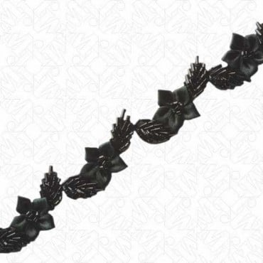"""1"""" BEADED TRIM WITH SATIN FLORAL APPLIQUES"""