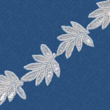 "1.75"" BEAD / SEQUIN LEAVES TRIM"