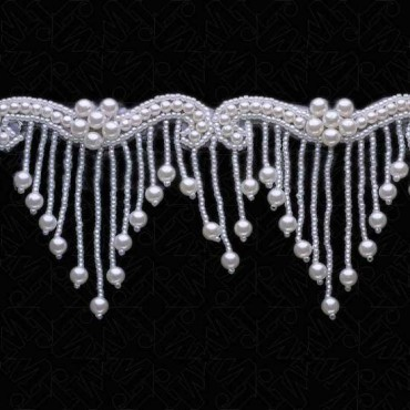 "3"" PEARL / SEED BEADED FRINGE - WHITE"
