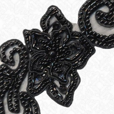 "2.5"" FLORAL PEARL BEADED TRIM - BLACK"