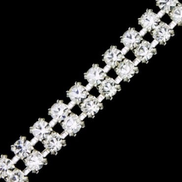 2 ROW RHINESTONE WITH METAL SET