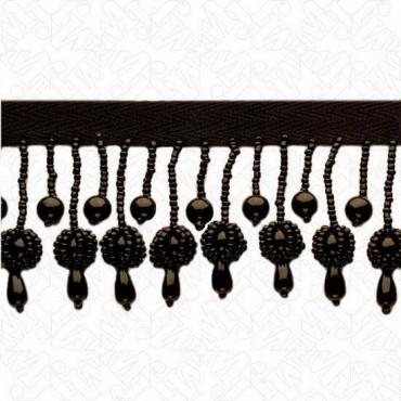 "2.25"" SEEDED BEADED BALL FRINGE - BLACK"