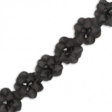 "FLOWER BY YARD 1"" - BLACK W/JET BK BEAD"