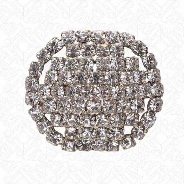 Oval Rhinestone Button