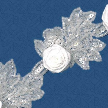"2 1/8"" SEQUIN TRIM WITH ROSETTES - WHITE"