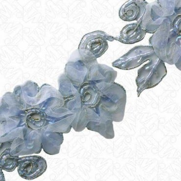 "2 1/4"" EMBROIDERED BEADED ORGANZA TRIM"
