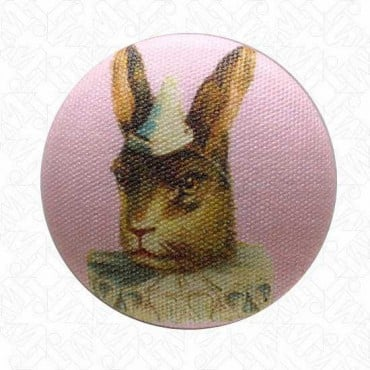 VICTORIAN RABBIT BUTTON W/SHANK - PINK