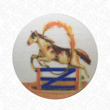 JUMPING HORSE BUTTON W/SHANK - HORSE/HOOP
