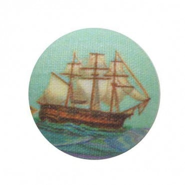 SHIP BUTTON - GREEN/BROWN
