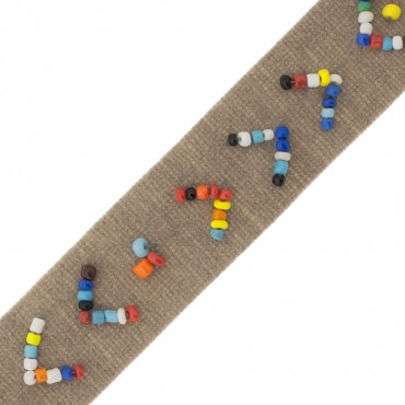 20MM SEED BEADED ON SUEDE TAPE  -20mm-CAMEL