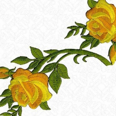 95MM IRON-ON EMBROIDERED ROSE TRIM
