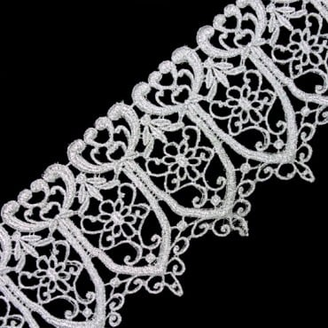 "5"" IMPORTED METALLIC LACE - SILVER"
