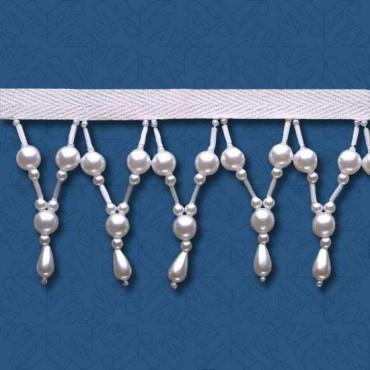 "2 1/2""(64mm) Pearl / Bugle Bead Fringe"