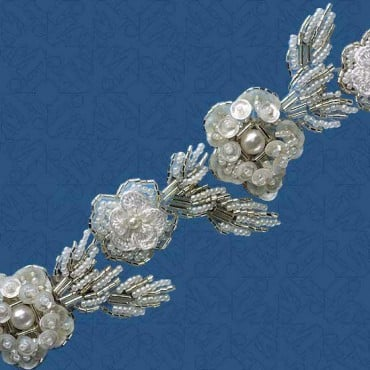 "2"" FLOWER BEADED TRIM - WHITE/SILVER"