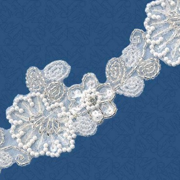 "1 7/8"" PEARL / SEED BEADED TRIM - WHITE/SILVER"