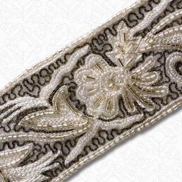 "2 3/8"" EMBROIDERED BEADED BORDER TRIM - ECRU/GREY/SILVER/CRYSTAL IRIS"