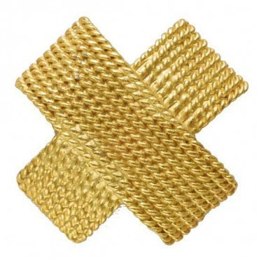 BRAIDED METAL CROSS BUTTON - MATTE GOLD