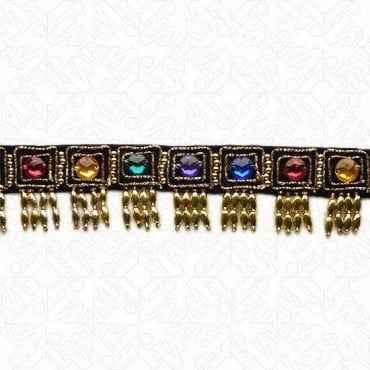 "1 5/8"" FACETED JEWEL BEADED FRINGE - GOLD/BLACK/MULTI"