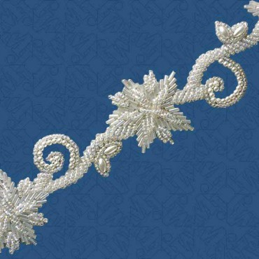 "1 3/4"" (44mm) Pearl Seed Beaded Trim"