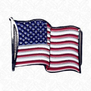 AMERICAN FLAG BUCKLE - RED/WHITE/BLUE ON SILVER