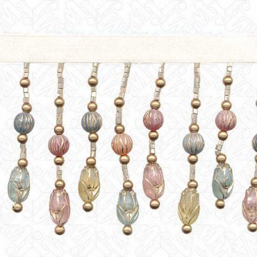 "2.75"" CARVED BEADED FRINGE - PASTEL MULTI"