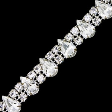 13MM RHINESTONE BANDING WITH DROP STONE - CRYSTAL/SILVER