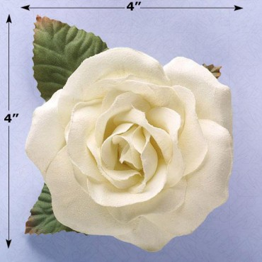 TAFFETA ROSE WITH LEAVES AND WITH PIN