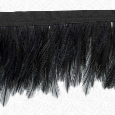"3 1/4"" FEATHER FRINGE ON FABRIC TAPE"