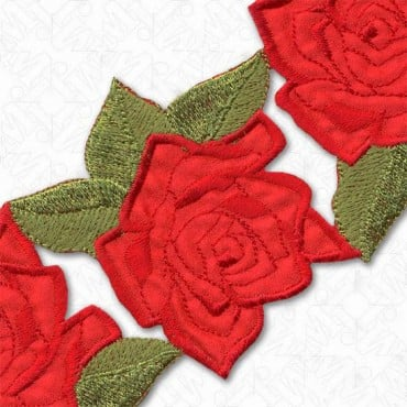 "3.25"" HEAT SEAL ROSE TRIM - RED/GREEN"