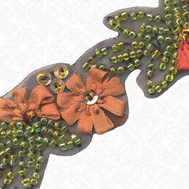 "1"" (25mm) Embroidered Beaded Floral Trim"