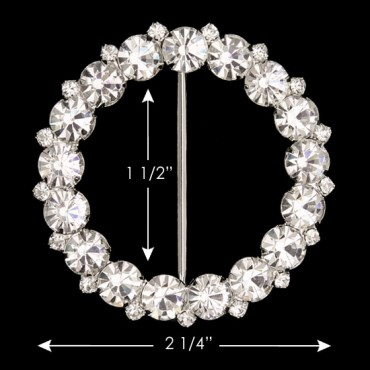 "2 1/4"" (58mm) Round Rhinestone Buckle"