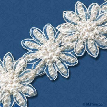 "2"" FLORAL PEARL BEADED TRIM - WHITE"