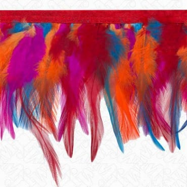"4"" FEATHER FRINGE ON SATIN TAPE - MULTI"