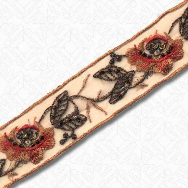 """1 1/4"""" (32mm) Beaded Sheer Embroidery"""