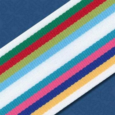 "1.5"" ROMAN STRIPE RIBBON - WHITE MULTI"